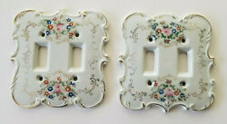 2 Vintage Ceramic Porcelain DOUBLE Light Switch Plate Covers Floral w Gold Rim