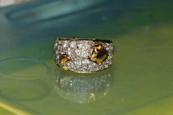 Solid 18k Real Yellow Gold Ring Signet S 6.5 W/ Moon And Star Sparkly Heavy Unique