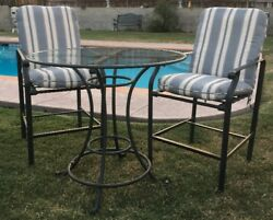 Brown Jordan Bar/bistro 3 Pieces Outdoor Patio Table And 2 Chairs W/cushions