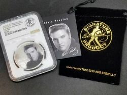 2018 1 Oz .9999 Silver Elvis Presley Commemorative Ms70 Only 100 With Ana Label