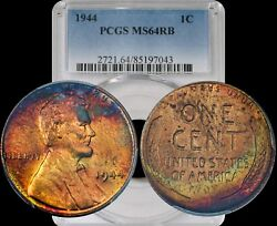 1944 Lincoln Wheat Cent Pcgs Ms64 Rb Yellow/green/black Toned Color Penny