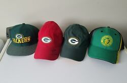 Green Bay Packers Lot Of 4 Baseball Cap Hats Mike Mccarthy Autographed Signed