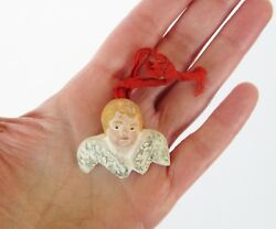 Antique Small Angel Face With Wings Ceramic Christmas Tree Ornament