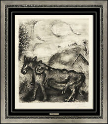 Marc Chagall Original Hand Signed Etching Fontaine Fables Donkey Lion Animal Art