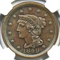 1849 N-28 R-3 Ngc Ms 61 Bn Braided Hair Large Cent Coin 1c