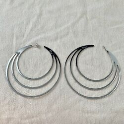 Rare Authentic Christian Dior Silver 925 Extra Large 3 Circle Hoops Earrings
