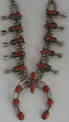 Old Navajo Large And Heavy Blood Red Coral Squash Blossom Necklace Handmade Beads