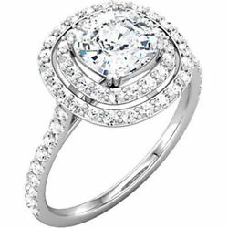 0.90 Ct Center Cushion Cut Diamond Halo Engagement Solitaire 14k Gold Ring H Si1