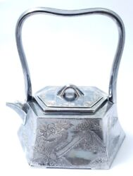 Dargon Hand Craved Pure Sterling Silver Tea Pot Hight Handle Master Antique