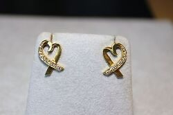 And Co. Paloma Picasso 18k Gold Diamond Loving Heart Earrings Pierced