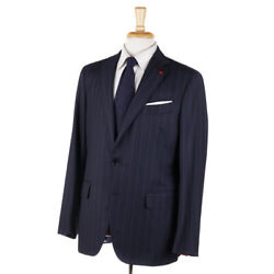 Nwt 3895 Isaia Modern-fit Navy Blue Stripe 140s Wool Suit 42 R Eu 52