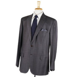 Nwt 6400 Brioni And039colosseoand039 Brownish-gray Striped Soft Wool Suit 44 R