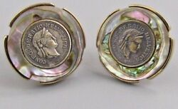 Excellent Mens Coin Art Cufflinks Costume Vintage Jewelry L 2