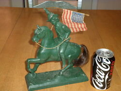 Usa Old West - General Custer On Horse Back Cast Iron Statue Vintage 1950and039s