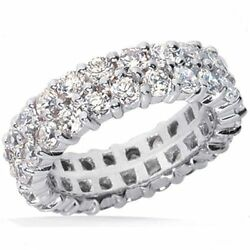7.60 ct Round Diamond Ring 14k Double Eternity Band F SI1 Size 8 0.20 ct each