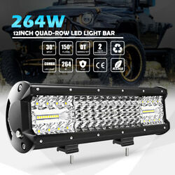 4 Row 12inch 264w Cree Led Work Light Bar Combo Beam Driving Off Road Truck 14