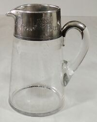Vintage Crystal Etched Pitcher W/sterling Silver Collar And Partial Handle Euc
