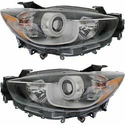 Headlight Set For 2013-2016 Mazda CX-5 Driver and Passenger Side w bulb