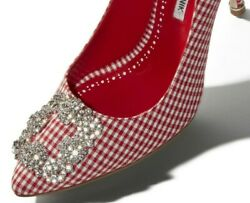 $995 NEW Manolo Blahnik HANGISI 105 Red Gihgham Jeweled Buckle Pumps 39 39.5 40