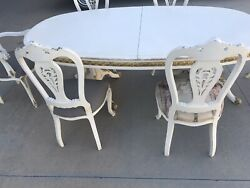 Antique Victorian Italian Table And Chairs