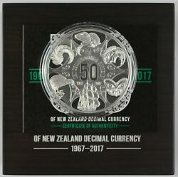 New Zealand - 2017 - Silver Dollar Proof Coin - 50 Years Of Decimal Currency