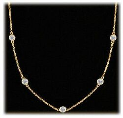 2.52 ct Round Diamond By The Yard Necklace 18k Yellow Gold 7 x 0.35 ct each G-H