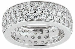 4.37 ct Round Diamond Ring 14k Gold Eternity Band F-G VSSI1 Size 8 0.05 ct each