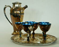 Vintage Silver Plate And Blue Enamel Cocktail Martini Shaker 6 Glass And Tray Set