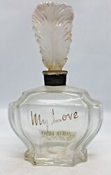 My Love Elizabeth Arden Glass Perfume Bottle With Figural Feather Stopper