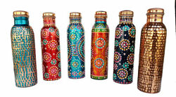 LOT OF 6 Copper Joint less leak-proof Sports Water Bottle Ayurved Health Benefit