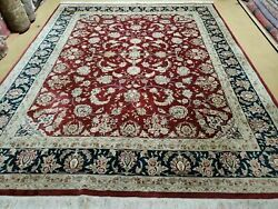 8' X 10' Vintage Hand Made India Wool Silk Accents Rug Hand Knotted Organic Nice
