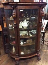 Antique Carved Oak China Cabinet Curved Glass 66.25andrdquo H