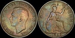 1948 Great Britain One 1 Penny George Vi Color Toned Coin In High Grade