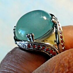 Big 21.40 Ct Naturall Milk Blue Aquamarine Ring 925 Sterling Silver,size 8,0.