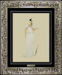 ERTE Original Gouache Painting Hand Signed Paris Oprea Costume Dress Design Deco
