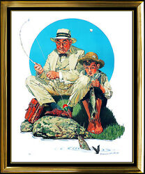 Norman Rockwell Color Lithograph Original Hand Signed Catching The Big One Art