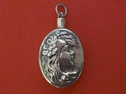 Antique Sterling Silver Snuff Perfume Bottle With Embossed Lady Charm Pendant