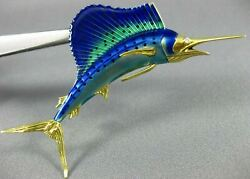 Antique Aaa Blue And Green Enamel 18kt Yellow Gold 3d Swordfish Pin Brooch 21878