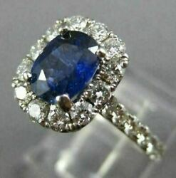 Estate Large 2.17ct Diamond And Aaa Sapphire 18kt White Gold Halo Engagement Ring