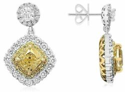 GIA 5.08CT WHITE & FANCY YELLOW DIAMOND 18K 2 TONE GOLD FLOWER HANGING EARRINGS