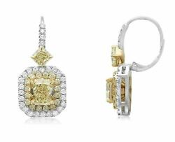 LARGE 5.44CT WHITE & FANCY YELLOW DIAMOND 18KT 2 TONE GOLD HALO HANGING EARRINGS