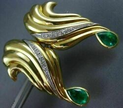 Estate Massive 4.40ct Diamond And Aaa Colombian Emerald 18kt Yellow Gold Earrings