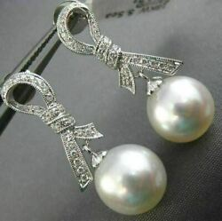 Estate .23ct Diamond And Aaa South Sea Pearl 18kt White Gold Bow Hanging Earrings