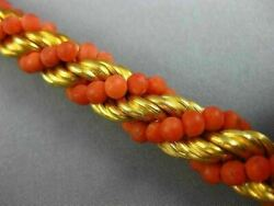 Antique Wide And Long Coral 18kt Yellow Gold 3d Swirl Handcrafted Rope Bracelet
