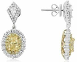 GIA 3.87CT WHITE & FANCY YELLOW DIAMOND 18KT TWO TONE GOLD OVAL HANGING EARRINGS