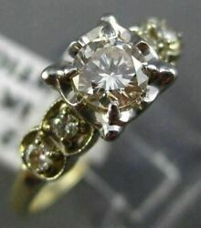 Antique .70ct Old Mine Diamond 14k White And Yellow Gold 3d Engagement Ring 21917