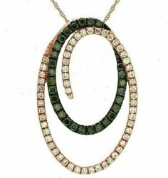Estate .57ct White And Green Diamond 14kt Rose Gold Intertwining Love Oval Pendant