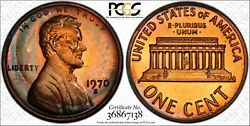 1970-s Lincoln Memorial 1 Penny Pcgs Pr66rb Large Date Color Toned Coin