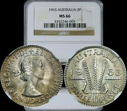 1963 Australia Three Pence Ngc Ms66 High In Demand Year And Toning