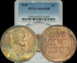 1949 Lincoln Wheat Penny Pcgs Ms65rb Turquoise/blue/yellow Toned Coin